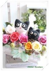 ダブル猫アレンジ(白黒猫・黒猫)