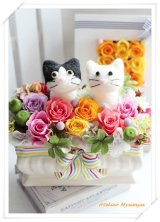ダブル猫アレンジ(白黒猫・白猫)